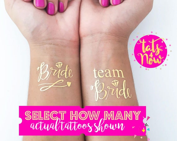 Team Bride + Bride script gold tattoos
