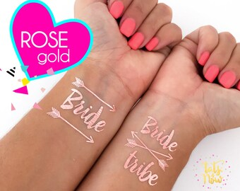 Boho Bachelorette party tattoos /  Rose gold Bride tribe tattoos / Pink tattoos / Bride tribe