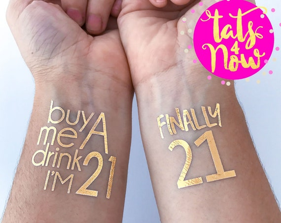 21st birthday party gold tattoos by Tats4Now