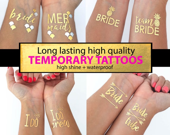 Bachelorette tattoos Bachelorette party tattoo gold tattoos Bride tattoo Bachelorette party Hen party tattoos temporary tattoos