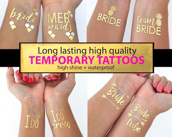Bachelorette Team Bride Temporary Tattoos Metallic Designs Bride Tribe Bachelorette Party Favors Supplies Gifts Gold Silver