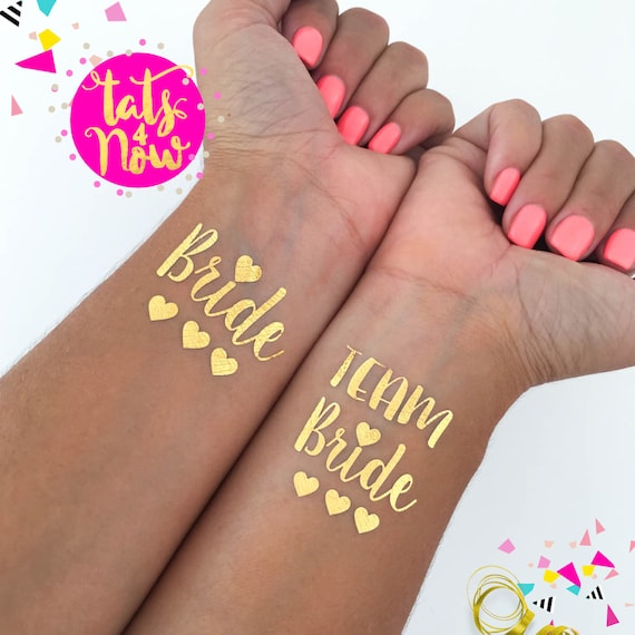 Team Bride Three Hearts gold tattoos