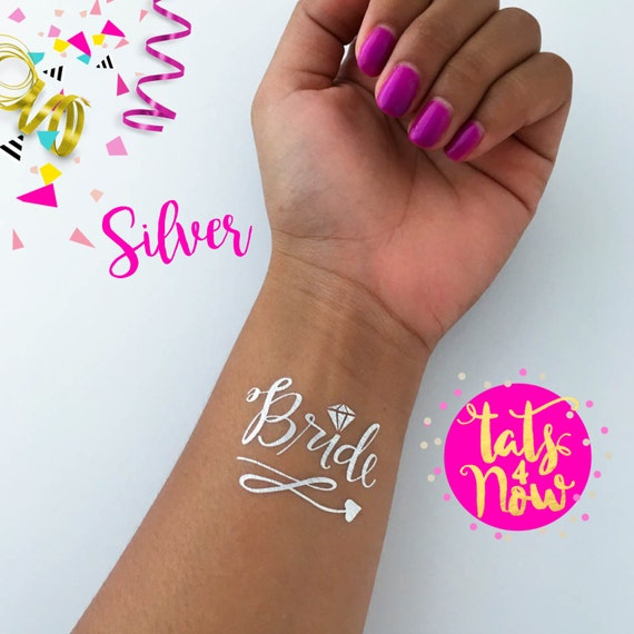 Silver temporary tattoos perfect for your bachelorette party, Silver team bride set of 16, 14 silver team bride and 2 silver bride