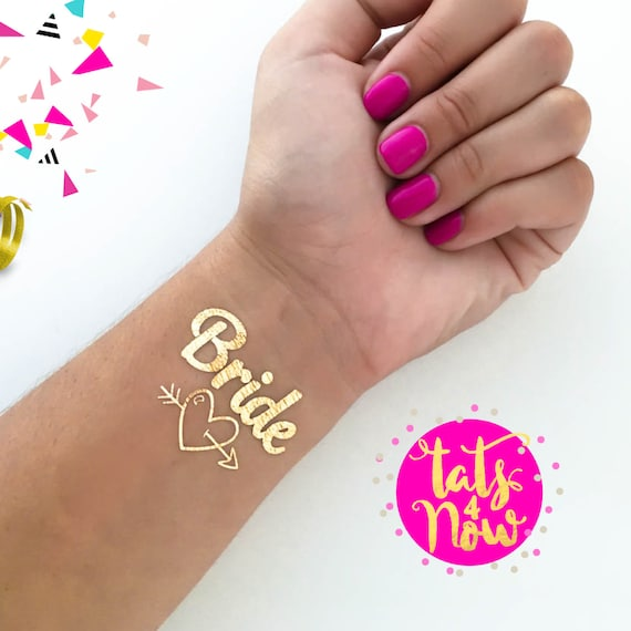 Set of 8 gold temporary tattoos, Team bride themed bachelorette tattoos