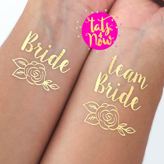 Flower / Rose Team Bride + Bride gold tattoos