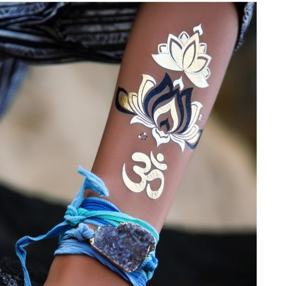 One love yoga gold and silver temporary tattoo