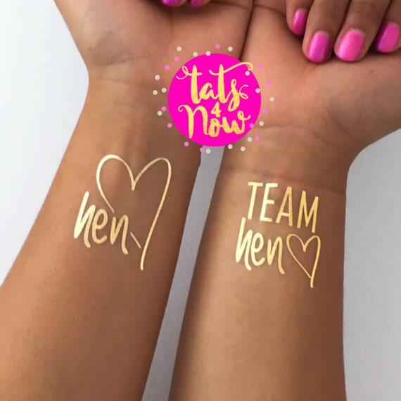 Hens party, hen do, hen party favor, gold party favor, bachelorette party gift, Team Hen, Hen, gold tattoos