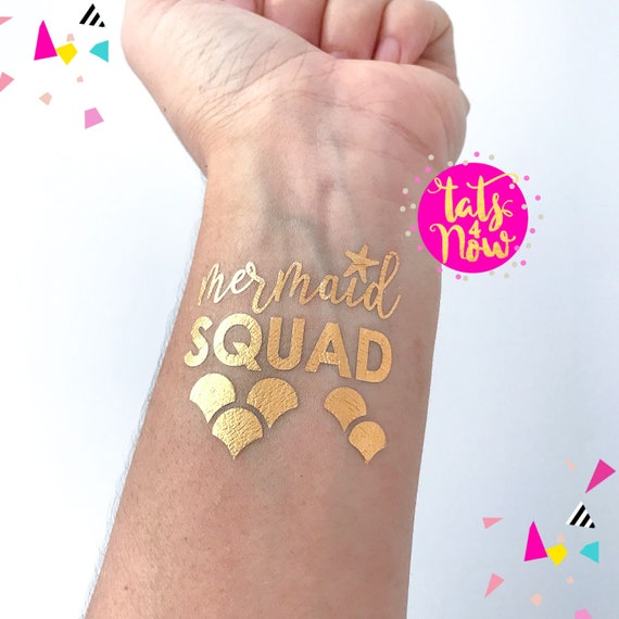 Mermaid squad tattoos in gold by Tats4now