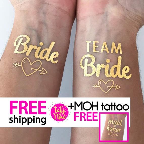 Team Bride + Bride + Maid of Honor gold tattoos