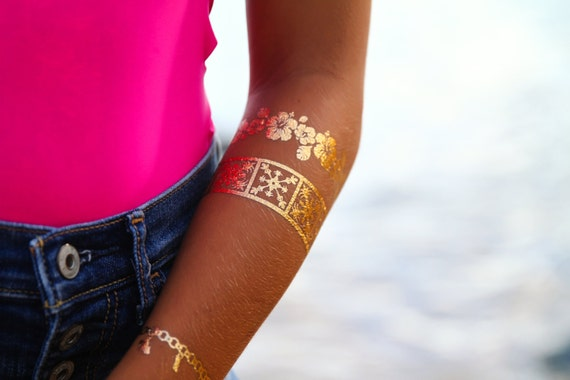 Gold and silver Hawaiian temporary tattoo