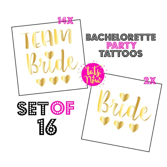 Temporary Tattoos, Gold Tattoos, Bachelorette Favors, Bachelorette Party, Bride Tattoos, Team Bride Tattoos, Hen Party, 16 THREE HEARTS