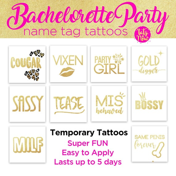 Bachelorette party - hen party hen do - bride tribe team bride gold temporary tattoos - funny bachelorette sticker tattoos