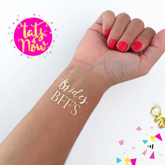 Bride's BFF gold temporary tattoos perfect to make your bachelorette amazing