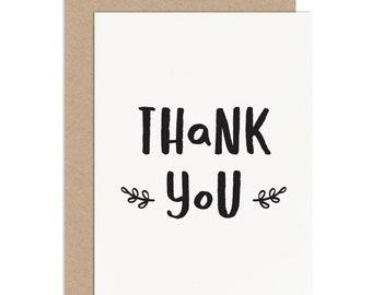 "Thank You Card - Thank You Card Pack - ""Thank You"" Thank You Card - Typographic Thank You Card - Wedding Thank You - Birthday Thank You"