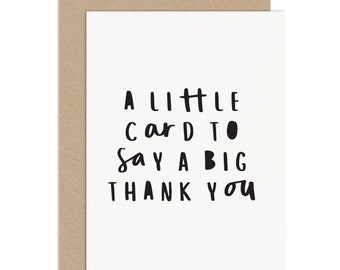 """Thank You Card - Thank You Card Pack - """"Little Card Big Thank You"""" Thank You Card - Typographic Thank You Card - Wedding Thank You"""