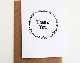 Wreath Thank You Card - Thank You Card Pack - Thank You Card - Typographic Thank You Card - Wedding Thank You - Birthday Thank You