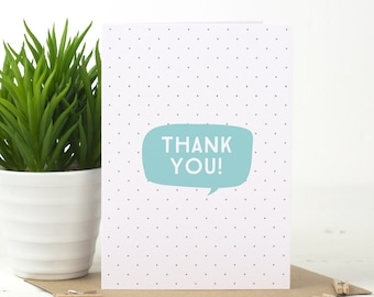 """Thank You Card - Thank You Card Pack - """"Speech Bubble"""" Thank You Card - Blue Thank You Card - Pink Thank You Card - Typographic Thank You"""