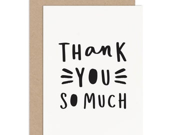 Thank You So Much Card - Thank You Card Pack - Thank You Card - Thank You So Much - Typographic Thank You Card - Wedding Thank You