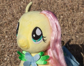 Fluttershy Plushie-Fluttershy Plushie-Glowing in Dark-Night Light-Light Up-My Little Pony-Fan Art-Upcycle