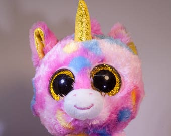 Unicorn Plush-Beanie Boo-Unicorn Plush-Night Light-Light Up-Unicorn Stuffed Animal-Fan Art-Upcycled-Repurposed