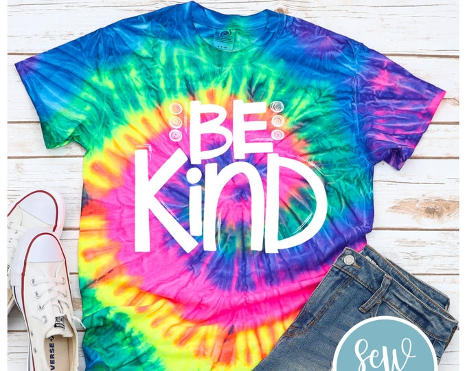 Featured listing image: Be Kind T-shirt, Tie Dye, Youth, Adult Tee