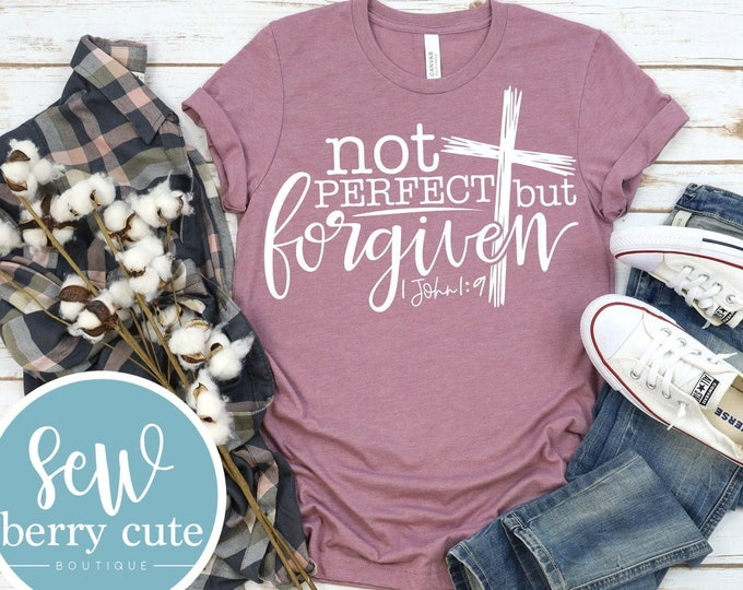 Featured listing image: Not Perfect But Forgiven, Christian Shirt, Graphic T-shirt