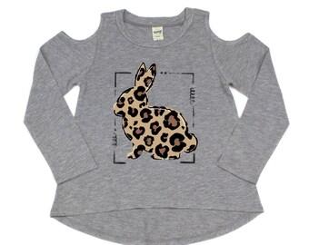 Leopard Bunny Short or Long Sleeve Cold Shoulder Shirt