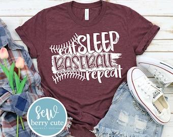 Eat Sleep Baseball Repeat, Baseball Mom