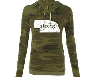 Nebraska Strong Light Weight Hoodie, Camo Hoodie
