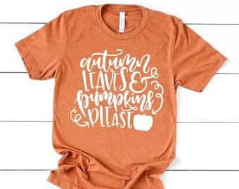 Autumn Leaves and Pumpkins Please T-shirt