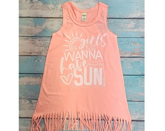 Girls Just Wanna Have Sun Fringe Dress, Swim Cover Up