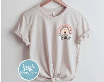 Teach Shirt, Rainbow, Boho, Back to School