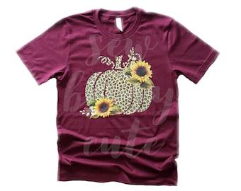 Leopard and Sunflower Pumpkin T-shirt