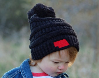 READY TO SHIP Kids Nebraska Beanie 621f1de692e