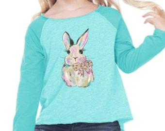 Watercolor Bunny Short or Long Sleeve Shirt