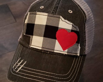 Nebraska Hat, Buffalo Plaid, Nebraska Girl, Distressed Trucker Hat