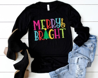 Merry & Bright T-shirt, Christmas Tee