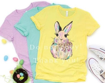 Watercolor Bunny T-shirt, ADULT