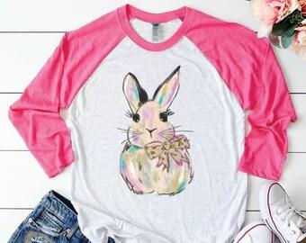 Watercolor Bunny Raglan