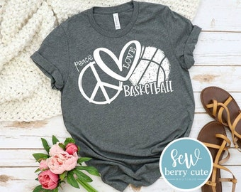Peace Love Basketball, Basketball Mom T-Shirt