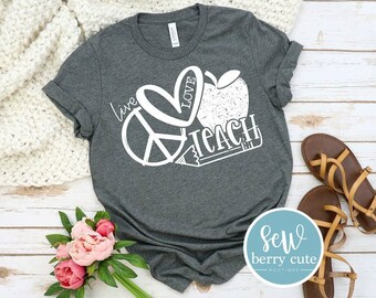 Peace Love Teach, Graphic T-shirt