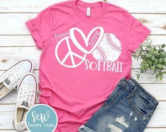 Peace Love Softball Shirt,  Softball  Mom T-Shirt, Softball