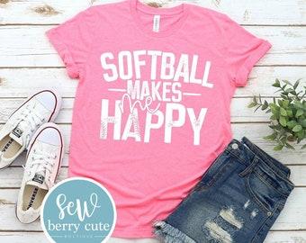 Softball Makes Me Happy,  Softball  Mom T-Shirt, Softball