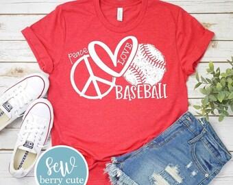 Peace Love Baseball T-Shirt, Baseball Mom