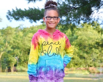 READY TO SHIP Peace and Love Tie Dye Hoodie