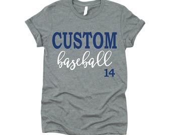 Custom Baseball Shirt, Baseball Mom T-shirt, Baseball Mom Tee,  Baseball