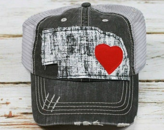 Nebraska Hat, Distressed Trucker Hat