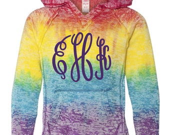 Monogrammed Tie Dye Hoodie, Youth and Adult Sizes