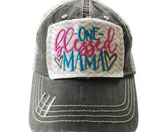 One Blessed Mama, Distressed Trucker Hat, Mom Hat, Mama Hat