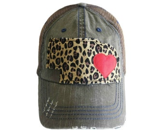 Nebraska Hat, Cheetah Print, Distressed Hat